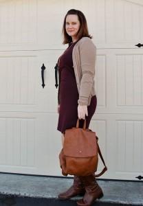 burgundy-dress-tan-cardi-brown-tall-boots-brown-bookbag-81